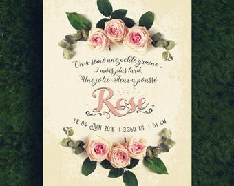 Birth announcement Roses