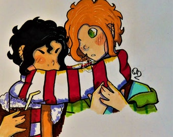 """Cuddly winter anime scene created by young artist Shawnee Morris. These are her original characters """"Christian"""" and """"Alex""""."""