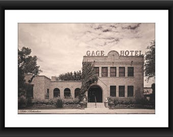 Fine Art Print of the Gage Hotel in Marathon, Texas, Sepia Tone, Photograph, Black and White, Historic, Hotel