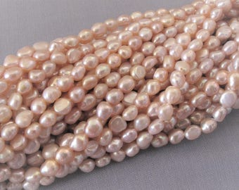 5 x 6mm Full Strand Natural Pink Rice Nugget Pearl Beads, Genuine Freshwater Pearl Beads, High Luster Nugget Cultured Pearl Beads (RNPK-012)