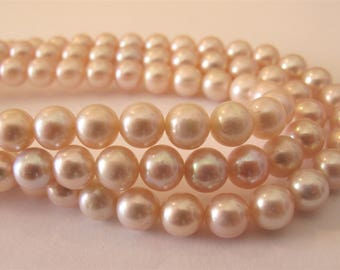 7mm High Luster Natural Pink Semi Round Freshwater Pearl Beads,Genuine Freshwater Pearls. Natural Pink Bridal Wedding Pearl Beads (RPK-058)
