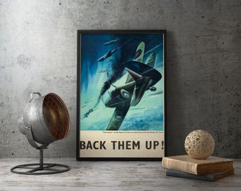 WW2 British Propaganda Poster - Supermarine Spitfire Aircrafts Royal Air Forces with the Russian Air Force, second world war 2 ii, aviator