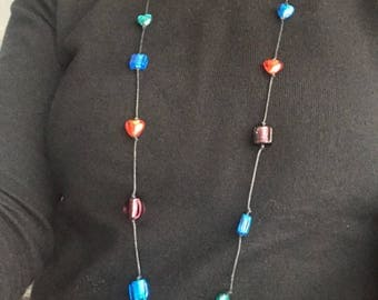 Long glass beaded necklace