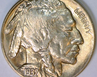 1937-D Buffalo Nickel; Gem BU