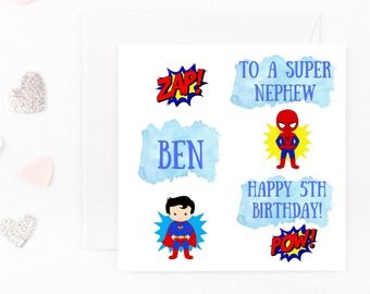Personalised Superhero Boys Birthday Card, Superhero Birthday Card, Any Name, Age, Wording Son, Brother, Nephew, Grandson, 2nd, Spiderman