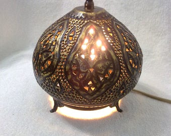 BR355 Moroccan Night Tea Light Handcrafted Brass Table Lamp