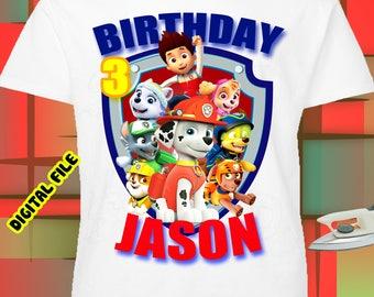 Paw Patrol Iron On Transfer, Paw Patrol Birthday Boy Shirt Iron On Transfer, Birthday Boy Iron On Transfer, Personalize Iron On Transfer