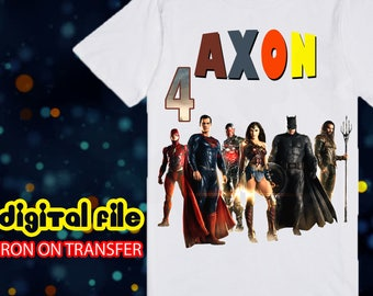 Iron On Transfer Justice League Birthday Shirt, Justice League Iron On Transfer, Justice League Birthday Boy Iron On Transfer, Personalize