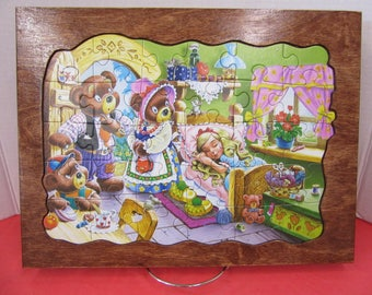 Goldilocks/Three Bears Wood Framed Puzzle