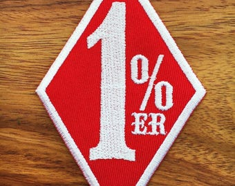 One Percenter 1%er biker outlaw motorcycle gang applique iron-on patch Red Sport