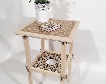 White Ash Fretwork Side Table