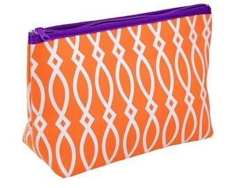 Orange/Purple/White Zipper Pouch/Cosmetic Bag! Great for Monogramming!