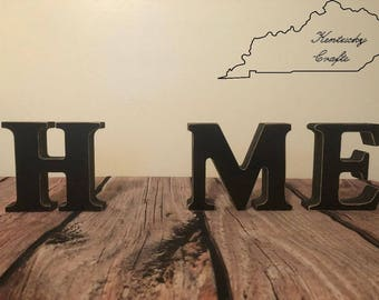"HOME wooden letters, Interchangeable primitive, finished wood sign, Letter Set holidays & seasons, ""H M E"" Letters ""O"" Inserts available"