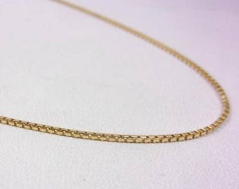 """Solid 14K Yellow Gold 16"""" Box Link Chain Necklace 1mm 2.5 grams, Heart Clasp/Tag"""
