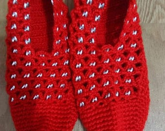 Woman red bootees
