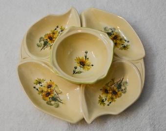 Vintage Sunflower Chip & Dip Serving Set