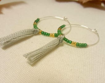 Small green and gold hoop with tassel