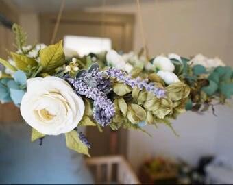 Eve - Mobile, Baby Mobile, Flower Chandelier, Floral Wreath, Nursery, Decor, Baby Girl