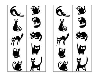 Printable Original Black & White two-sided Bookmark-Mischievous Black Cats on white snow-Silhouette Bookmark-Instant Digital Download -
