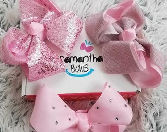 3pc pink glam bows