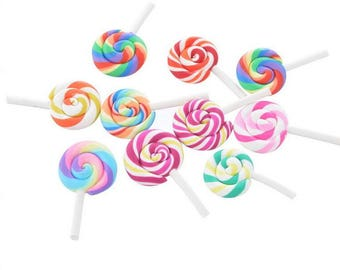10 Pcs 48mm*27mm Messy lollipop mobile phone shell DIY resin patch