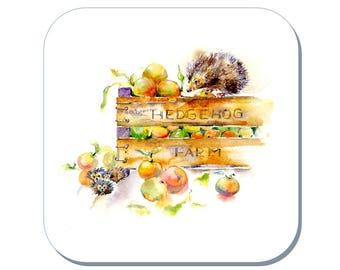 Hedgehog Farm - Hedgehog Coaster (Corked Back). From an original Sheila Gill Watercolour Painting