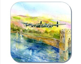 In Flight - Dam Busters, Avro Lancaster Bomber Coaster (Corked Back) - from an original Sheila Gill Watercolour Painting