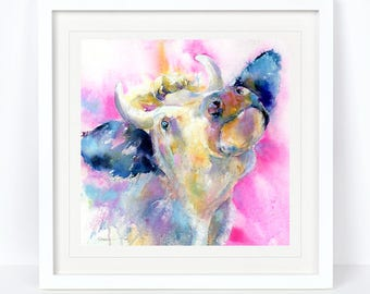 Kiss Me Quick - Cow Print. Limited Edition Print from an Original Sheila Gill Watercolour. Fine Art, Giclee Print, Hand Painted, Home Decor