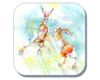 Dancing Hares Coaster (Corked Back). From an original Sheila Gill Watercolour Painting