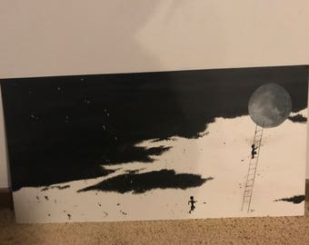 Black and white painting (Chasing shadows)