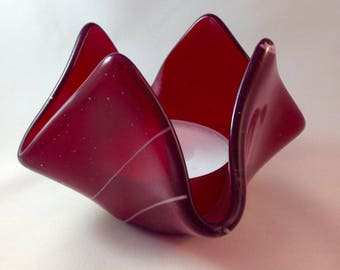 Garnet Red Tulip Candle Holder