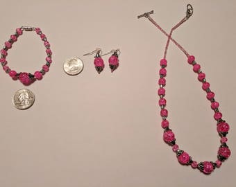 Vibrant Pink Glass Bead Necklace + Bracelet + Earring Set