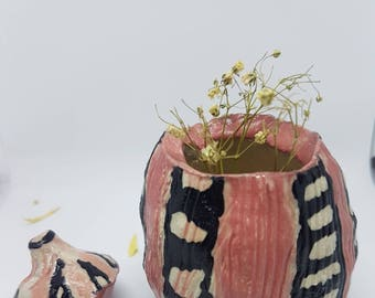 The Magic Gu Collection - handmade ceramic storage pot, jewelry pot, random stuff pot, home decor, unique gift, quirky design, pinch pot.