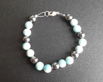 Larimar and Hematite Bracelet