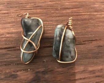 Wire Wrapped Emerald Earrings