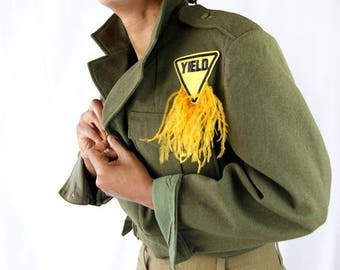 Military 1950's Vintage Jacket With Feathers