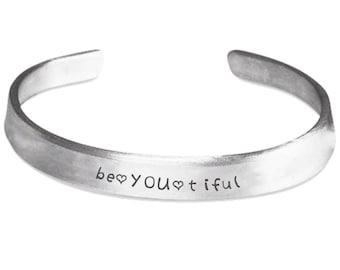 Inspirational Bracelet - BeYOUtiful Beautiful - Motivational Quote Sayings Jewellery Jewelry - Hand Stamped Cuff