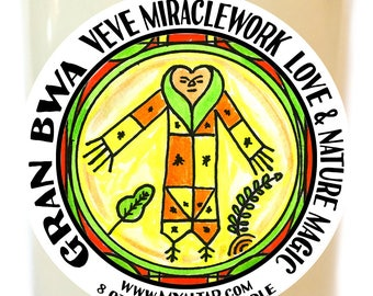 Gran Bwa Veve Lwa Miracle work for Love Healing and Nature Magic Voodoo Scented Soy 8 oz Glass Candle