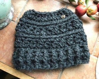 "Messy Bun ""Snowdrift"" Chunky Crochet Beanie (Choose Your Color)"