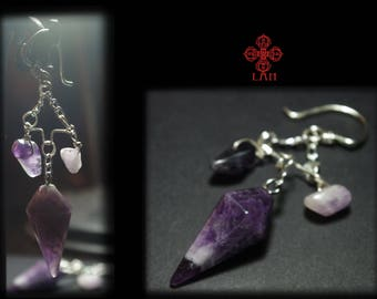 Pendulum earrings ,ear weights ,amethyst ,wiccan,tribe,ornemental,pagan,stone jewelry,natural stone earring,goth,witch,occult,esoteric