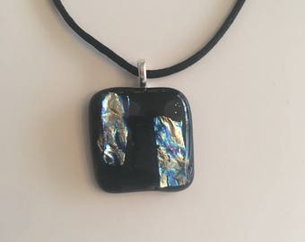 Black glass fused necklace