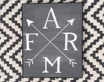 FARM modern matte grey farmhouse sign