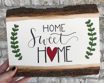 Hand Painted Wood Slice - Home Sweet Home