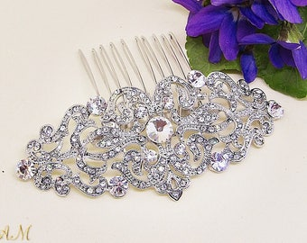 Silver Hair Comb, Crystal Hair Comb, Hair Comb for Bride, Wedding Hair Comb, Rhinestone Hair Comb, Bridal Hair Comb, Wedding Hair Piece
