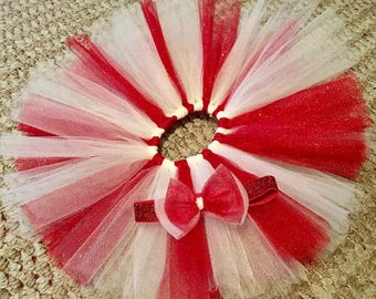 Baby Tutu and Headband set Red Glitter/White