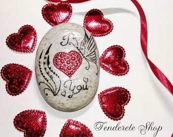 Dot Art painted Stone – Love Stone 8- Painted Rocks – Dot Art Stone- Natural Stone- Love gift