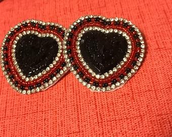 Black heart beaded earrings