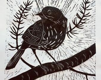 "Linocut Print ""Kirtland Warbler"""