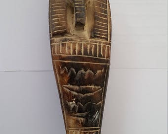 antique ,egyptian coffin hand made on stone art painting , sculpture