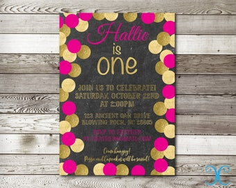 Gold Birthday Invitation, Birthday Invitation, First Birthday Invitation, Pink Invitation, Girl Birthday Invitation, Chalkboard Invite, 008